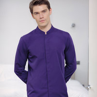 Mandarin collar fitted shirt long sleeved